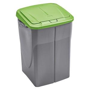 Poubelle de tri s lectif cuisine 45 litres couvercle vert - Poubelle de cuisine vert pastel ...