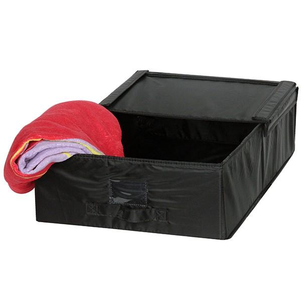 bo te de rangement sous lit tissu avec porte tiquette noir mod le m. Black Bedroom Furniture Sets. Home Design Ideas