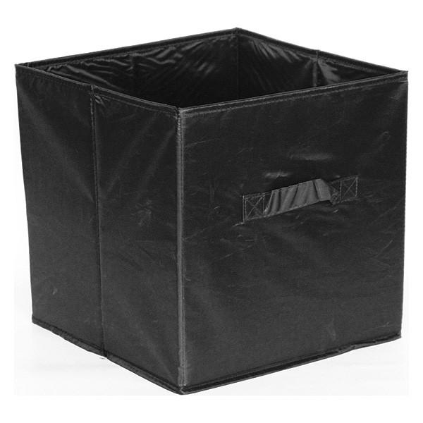 Panier de rangement avec poignées en tissu noir