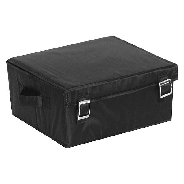 Malle de rangement tissu avec couvercle noire grand modèle