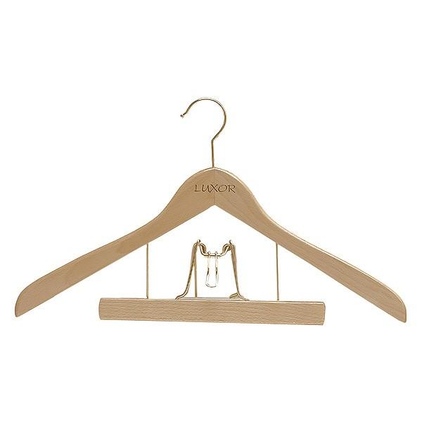 Cintre galbé en bois combiné pince pantalon