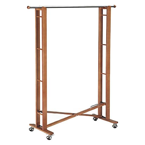 Portant pliable pour vêtements en bois massif et métal chromé sur roulettes