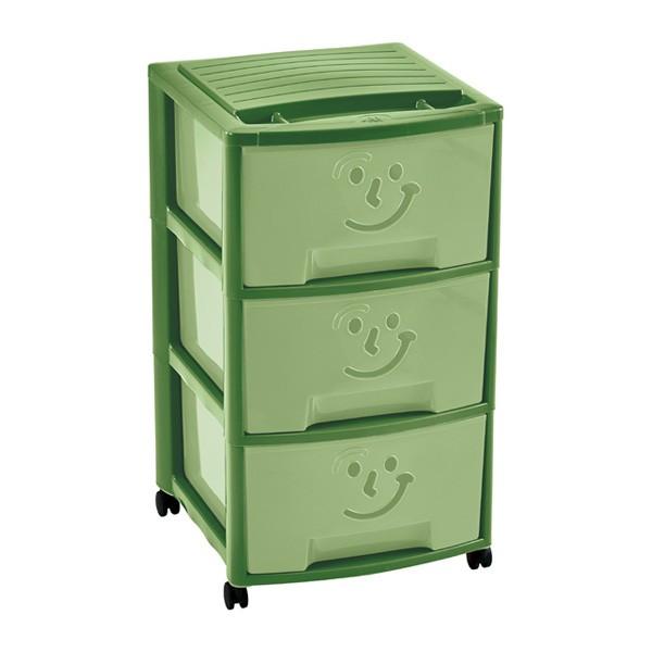 Tour Smile Vert Pastel avec trois tiroirs et roulettes pour enfant