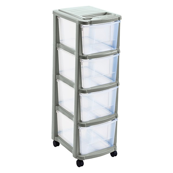 Tour de rangement plastique 4 tiroirs avec roulettes sable - Tour de rangement plastique ikea ...
