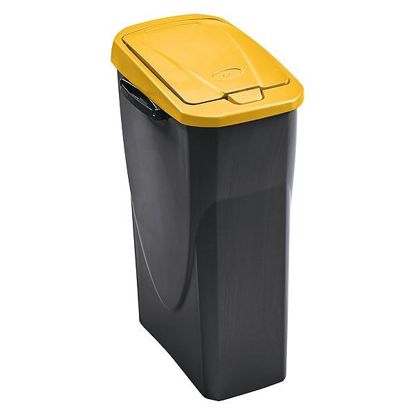 poubelle de tri s lectif cuisine 25 litres couvercle jaune. Black Bedroom Furniture Sets. Home Design Ideas