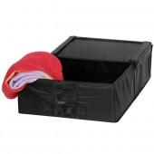 Boîte de rangement sous lit tissu avec porte étiquette noir modèle M