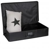 Boîte de rangement sous lit tissu avec porte étiquette noir grand modèle