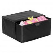 Boîte de rangement 1 tiroir en tissu noir