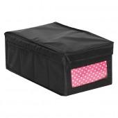 Boîte de rangement en tissu avec couvercle et fenêtre noir petit modèle