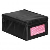 Boîte de rangement en tissu avec couvercle et fenêtre noir modèle M