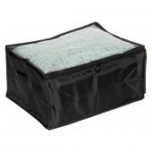 Boîte de rangement en tissu avec poignées et fenêtre noir petit modèle