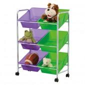 Rangement sur roulettes 6 cases idéal pour chambre d'enfant