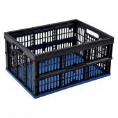 Casier pliable en plastique 32 Litres fond bleu et côtés noirs
