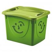 Bac de Rangement Fancy Box Smile avec Couvercle Vert 30 L pour enfant