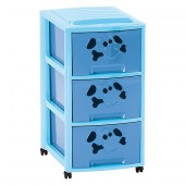 Tour de Rangement Fancy Dog A4 3 grands Tiroirs Bleue