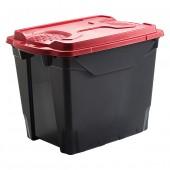 grande boîte de stockage en plastique 55 litres noir rouge