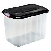 Boîte de Rangement à roulettes avec couvercle 65 Litres Noir