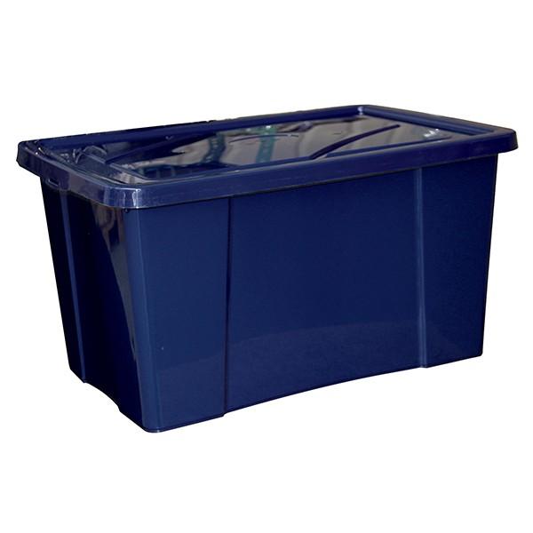 bo te de rangement avec couvercle 48 litres bleu. Black Bedroom Furniture Sets. Home Design Ideas