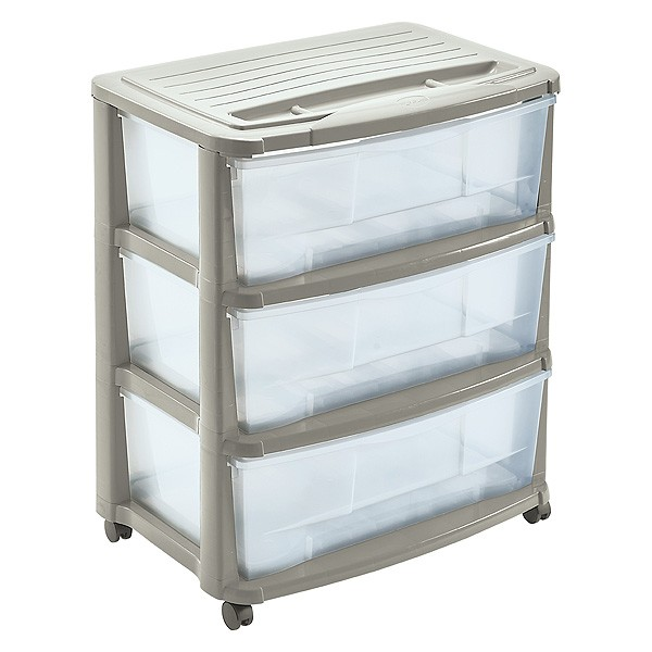 commode de rangement plastique 3 tiroirs avec roulettes couleur ivoire. Black Bedroom Furniture Sets. Home Design Ideas