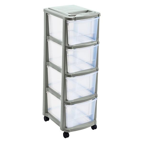 Tour de rangement plastique 4 tiroirs avec roulettes sable for Meuble plastique tiroir