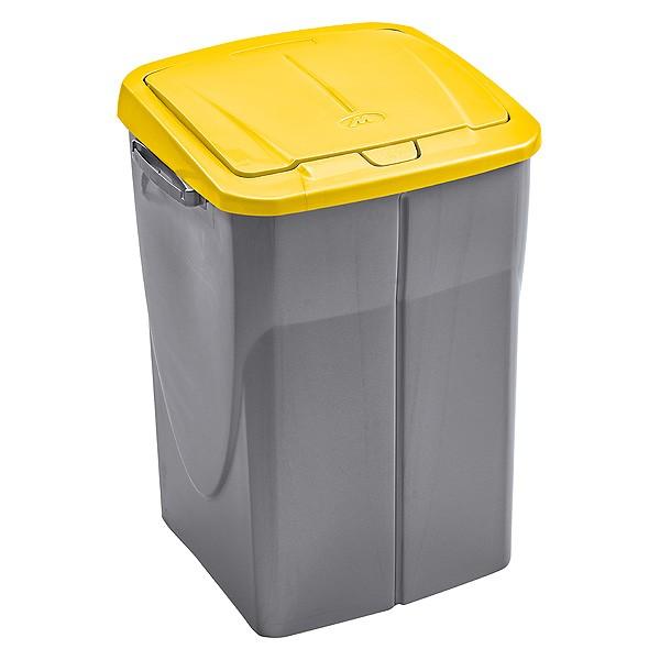 Poubelle de tri s lectif cuisine 45 litres couvercle jaune for Poubelle double cuisine