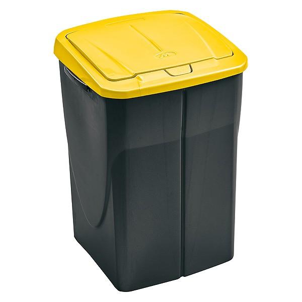 poubelle de tri s lectif cuisine 45 litres avec couvercle jaune. Black Bedroom Furniture Sets. Home Design Ideas