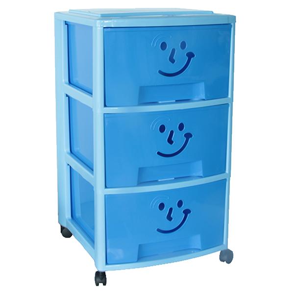 acheter en ligne b36de e1da5 Tour de rangement plastique Fancy Smile Bleue avec trois tiroirs et  roulettes pour enfant