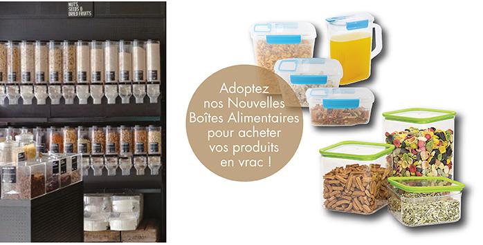 Adoptez nos Nouvelles Boîtes Alimentaires pour acheter vos produits en vrac !